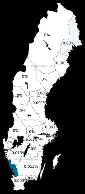 Swedish Regional Distribution for Severina (f)