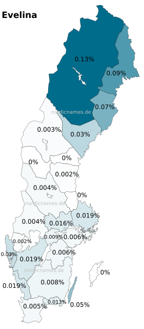 Swedish Regional Distribution for Evelina (f)
