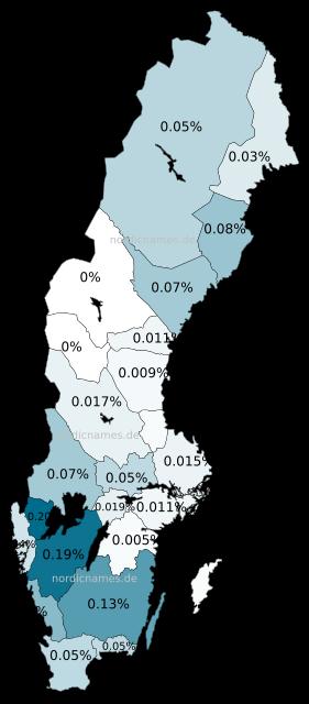 Swedish Regional Distribution for Tilda (f)