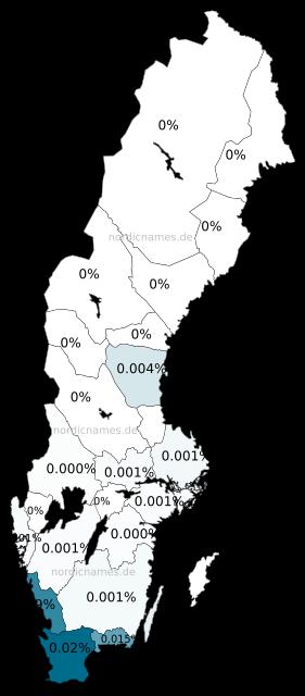 Swedish Regional Distribution for Gunild (f)
