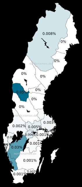 Swedish Regional Distribution for Kasper (m)