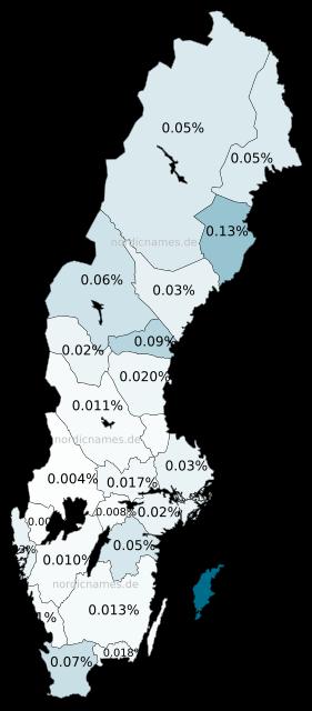 Swedish Regional Distribution for Margaretha (f)