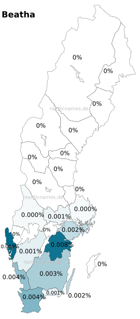 Swedish Regional Distribution for Beatha (f)