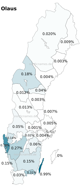 Swedish Regional Distribution for Olaus (m)