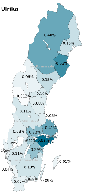 Swedish Regional Distribution for Ulrika (f)