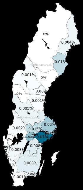 Swedish Regional Distribution for Ulrica (f)