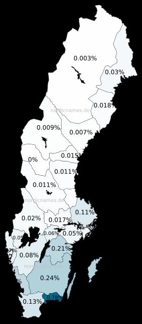 Swedish Regional Distribution for Emelie (f)