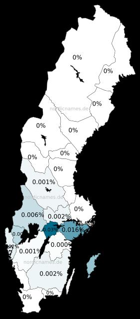 Swedish Regional Distribution for Ädla (f)