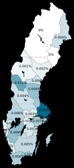 Swedish Regional Distribution for Ragnar (m)