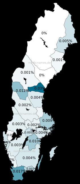 Swedish Regional Distribution for Thora (f)