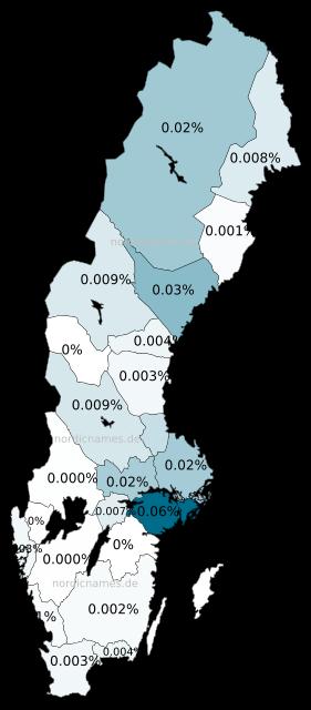 Swedish Regional Distribution for Erica (f)