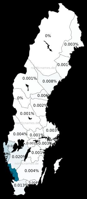 Swedish Regional Distribution for Severin (m)