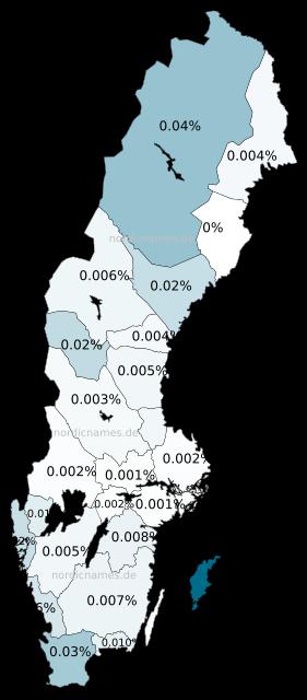 Swedish Regional Distribution for Christoffer (m)