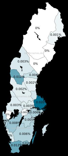 Swedish Regional Distribution for Jean (m)