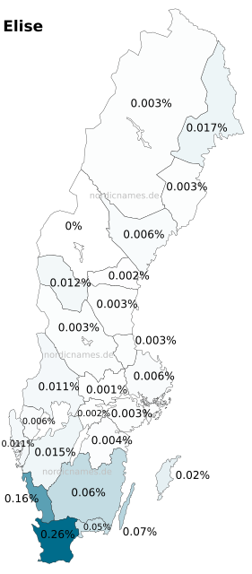 Swedish Regional Distribution for Elise (f)