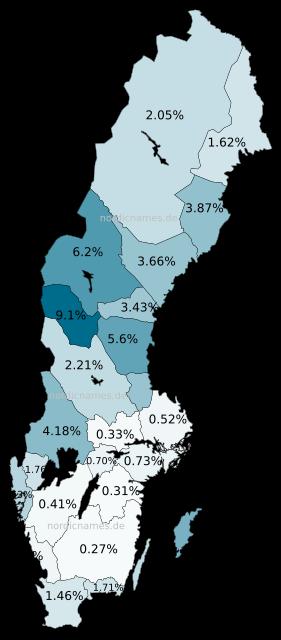 Swedish Regional Distribution for Olof (m)