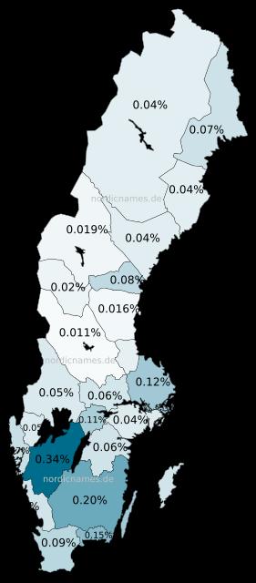 Swedish Regional Distribution for Ellen (f)