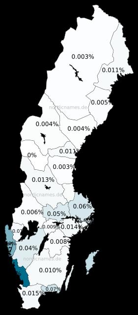 Swedish Regional Distribution for Bernhardina (f)