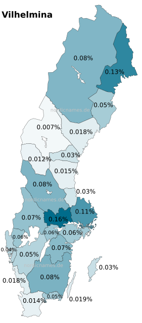Swedish Regional Distribution for Vilhelmina (f)