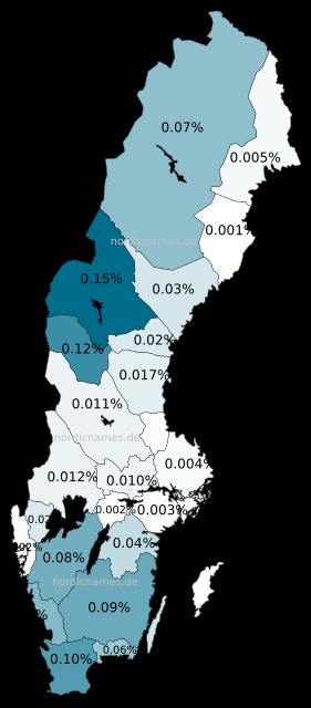 Swedish Regional Distribution for Swen (m)