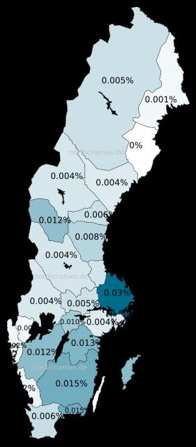 Swedish Regional Distribution for Ruth (f)