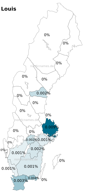 Swedish Regional Distribution for Louis (m)