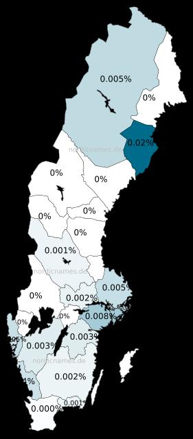 Swedish Regional Distribution for Tecla (f)