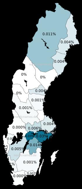 Swedish Regional Distribution for Rosina (f)