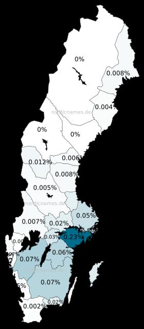 Swedish Regional Distribution for Claës (m)