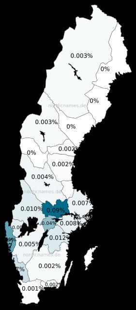 Swedish Regional Distribution for Sabina (f)