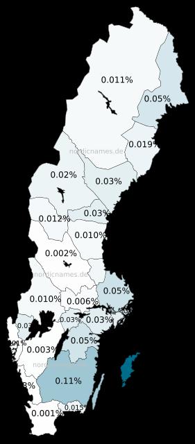 Swedish Regional Distribution for Wendla (f)