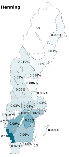 Swedish Regional Distribution for Henning (m)