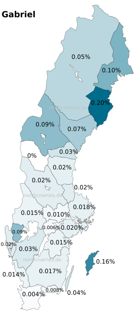 Swedish Regional Distribution for Gabriel (m)