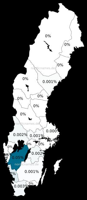 Swedish Regional Distribution for Swante (m)