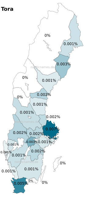 Swedish Regional Distribution for Tora (f)