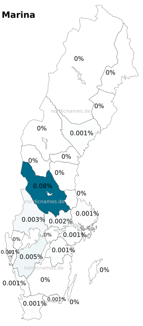Swedish Regional Distribution for Marina (f)