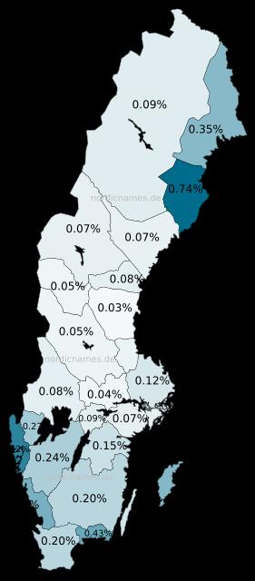Swedish Regional Distribution for Anton (m)