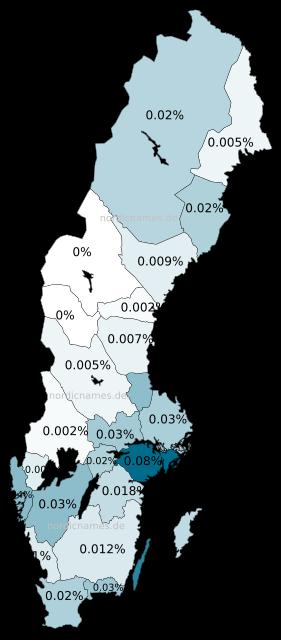 Swedish Regional Distribution for Sophia (f)