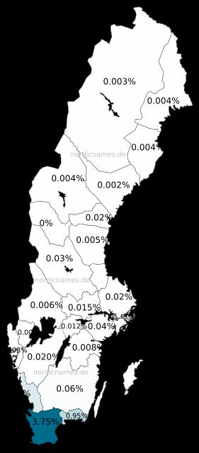 Swedish Regional Distribution for Elna (f)