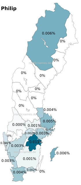Swedish Regional Distribution for Philip (m)