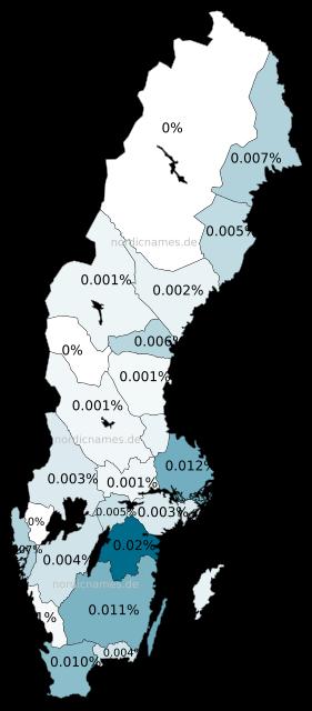 Swedish Regional Distribution for Joël (m)