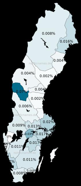 Swedish Regional Distribution for Sten (m)