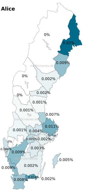 Swedish Regional Distribution for Alice (f)