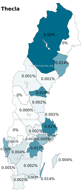 Swedish Regional Distribution for Thecla (f)