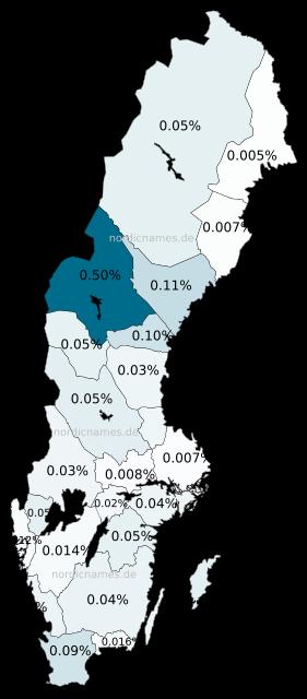 Swedish Regional Distribution for Göran (m)