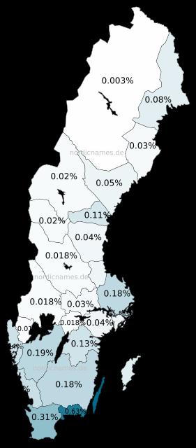 Swedish Regional Distribution for John (m)