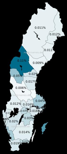 Swedish Regional Distribution for Gunnar (m)