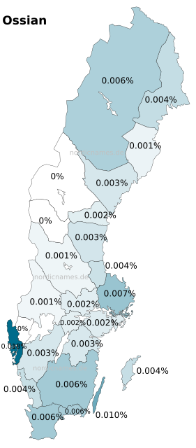 Swedish Regional Distribution for Ossian (m)