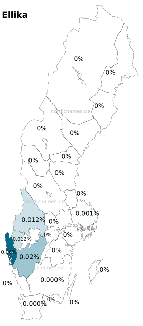 Swedish Regional Distribution for Ellika (f)