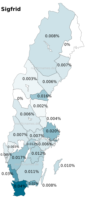 Swedish Regional Distribution for Sigfrid (m)